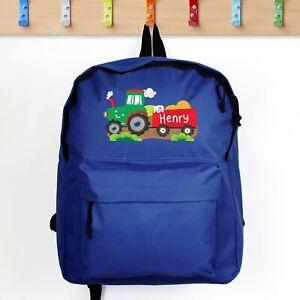 Personalised Name Blue Boys School Bag Tractor Backpack Rucksack 3 -11 Years