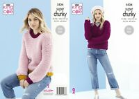 KNITTING PATTERN Ladies Very Easy Knit Jumpers Super Chunky King Cole 5524