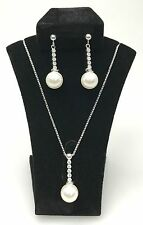 Sterling Silver Freshwater Pearl Drop Pendant Necklace with AAA quality CZ