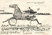 1905 RARE VINTAGE COMIC STUART ALLAN HORSE RACING POSTCARD - to GOONDIWINDI