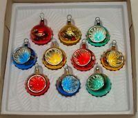 Vtg Glass Xmas Ornaments 10 BRADFORD & MIX Feather Tabletop Tree INDENTS Balls