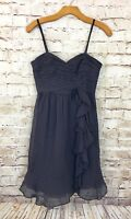 NWT Rebecca Taylor Coal Dark Gray Spaghetti Strap Silk Dance w/ Me Dress Size 2
