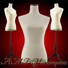 Vintage female mannequin toros+ tripod stand / linen Dress form-11Pn