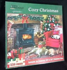 Cozy Christmas Jigsaw Puzzle Sealed 550 Pcs Dogs Kitty Fireplace 24x18 USA