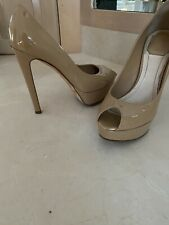 CHRISTIAN DIOR Beige PATENT LEATHER PLATFORM PEEP TOE PUMP 38.5