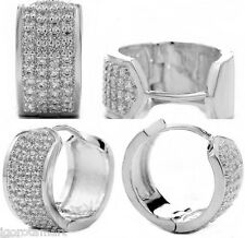Pair Men Women Cuff Huggie Hoop Ear Stud Earrings White Gold Filled Crystal