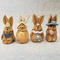 4 Vintage Hindt Mini Easter Rabbit Figurines Hand Painted Artist Signed 1970s
