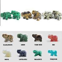 Hand Carved Quartz Crystal Jasper Turquoise Elephant Natural Gemstone Malachite