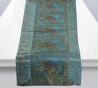 Indian Decorative Brocade Silk Table Runner Party Elephant Print Table Runner