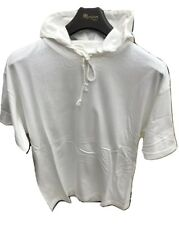 New White hoodie Hooded Casual T-shirt cotton Adult Unisex Free size half sleeve