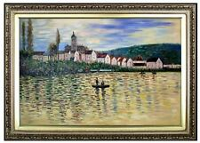 Framed, Hand Painted Oil Painting, Monet the Seine at Vetheuil Repro 24x36in