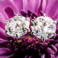 14K White Gold Over 2Ct Round Cut Moissanite Solitaire Earrings Engagement