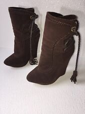 Colin Stuart Brown High Heel Leather Suede Wedges Braided Lace Up Straps Booties