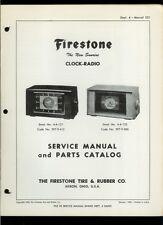 Rare Orig Firestone Sunrise Clock Radio 4-A-121/122 Service Manual Parts List
