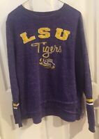 Women's LSU Tigers Shirt, Purple, XL, Used Long Sleeve, Gold/white Stripes