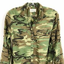 Ralph Lauren Denim & Supply Small Camo Green Long Button Down Shirt Sheer Hi Lo