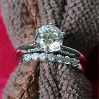 Real 10K White Gold 1.50 Ct Diamond Solitaire Engagement Wedding Ring Bridal Set