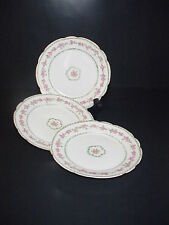 Charles Field Haviland Limoges France Porcelain Plates Set 3 Pink Roses