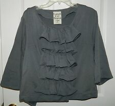 LAUGH CRY REPEAT by AZFN Beautiful Gray RUFFLED FRONT Wrap Top Jacket* M