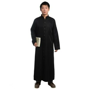 Christian Black Priest Cassock Clergy Pastor Robe Gown Button Clerical Dress