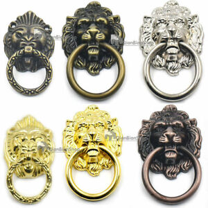 Vintage Cabinet Drawer Ring Dresser Furniture Door Pull Handle Knob Lion Screw F