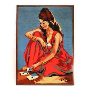 Vintage Gypsy Woman Bohemian Wall Art 1970's Needlepoint Fiber Art