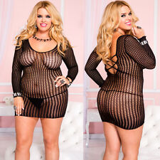 Plus Size Lingerie Queen fit XL 1X 2X Black Long Sleeve Dress Chemise ML6209Q
