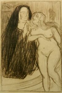 An original drawing by Albert Sterner, Symbolist, Nun and Nude