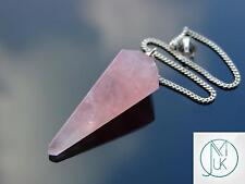 Punto De Piedras Preciosas de Cuarzo Rosa Péndulo Radiestesia Cristal Adivino Curación Reiki Chakras