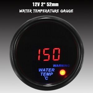 "2"" 52mm Water Temp Gauge Red Digital Led Temperature Universal Auto Car Meter"