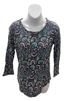 Lucky Brand Navy Blue Long Sleeve Floral T-Shirt Small