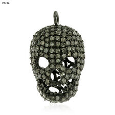 1.22 ct Pave Diamond .925 Sterling Silver Human Skull Spacer Finding Jewelry