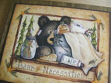Primitive Vintage Rustic Country Bear Necessities Outhouse Bathroom Sign 1CP