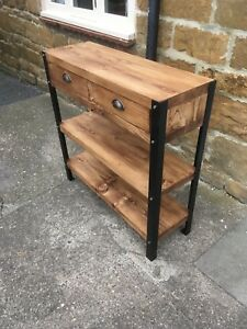 Bespoke H85 x W49 x D20cm industrial steel console hall table drawers 2 shelves