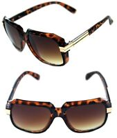 Men's Hip Hop 80's Vintage 607 Brown Lens Sunglasses RUN DMC Brown Gold Retro
