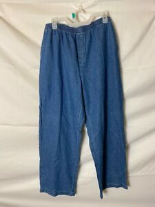 NWT NEW WOMENS BASIC EDITIONS ELASTIC WAIST JEANS SIZE LARGE 14 RELAXED FIT