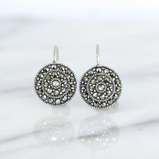 Genuine Sterling Silver Vintage Style Marcasite 12mm Round Leverback Earrings