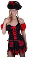 Ladies Lady Pirate Captain Maid Wench Fancy Dress Costume + Hat - M (10-12-14)
