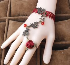 Red Rose Lace Bracelet Attached Women Ring Ladies Slave New