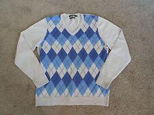 Womens Sportscraft Blue Argyle 100% Australian Merino Wool Jumper, Size L