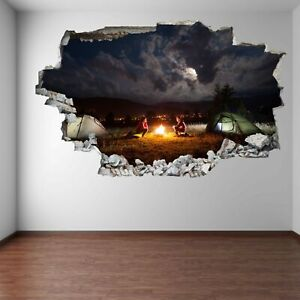 Campfire Camping Tents Cloudy Sky Wall Art Stickers Mural Decal Home Decor ER15