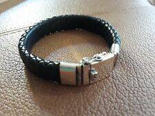 "NEW ITEM! Large Square Black Leather Bracelet / 925 Sterling Silver Clasp 8.25"""