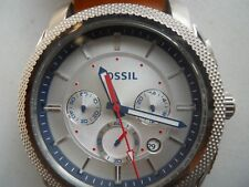 Fossil men's chronograph brown leather band Analog,quartz& battery watch.Fs-5063