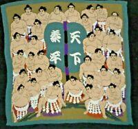 Vintage Silk Scarf Asian 33 Sumo Wrestlers Japan Aqua & Tabi Socks Pink Black