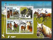 Chevaux Saint Thomas et Prince (53) série complète de 4 timbres oblitérés