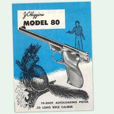 JC HIGGINS MODEL 80 SEMI-AUTO PISTOL OWNERS PARTS GUN MANUAL INSTRUCTION .22 CAL