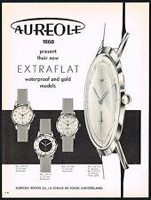 1950's Vintage 1955 Aureole Extraflat Flat Swiss Watch Mid Century Art Print AD