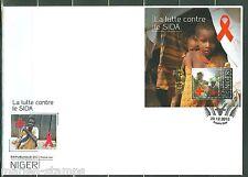 NIGER  2013  BATTLE AGAINST AIDS  RED CROSS  SOUVENIR SHEET FDC