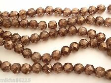 25 6mm Czech Glass Firepol. Renaissance Beads:Luster - Transp. Gold/Smoked Topaz