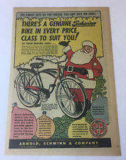 1950 Schwinn BLACK PHANTOM Christmas bicycle ad page ~ SANTA CLAUS